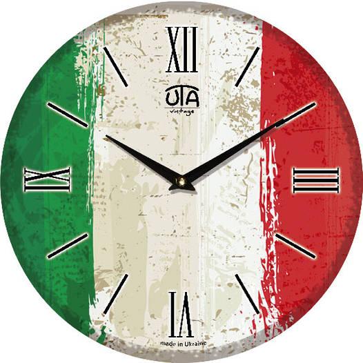 """Настенные часы 330Х330Х30мм """"Флаг Италии"""" [МДФ, Открытые]"""