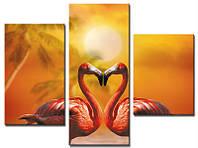 """Модульная картина из 3-х частей """"Фламинго-сердце"""""""