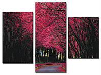 """Модульная картина из 3-х частей """"Цветущие деревья"""""""
