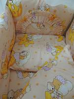 """Защита, мягкие бортики в детскую кроватку """"Мишки на звездочках"""" бежевая"""