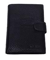 Кошелек бумажник Silly Horse 3921 черный из натуральной кожи с отделением для паспорта