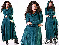 Длинное женское платье ангора с капюшоном размеры 50-52 и 54