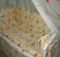 """Защита, мягкие бортики в детскую кроватку """"Винни Пух"""" бежевая"""