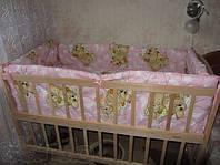 """Защита, мягкие бортики в детскую кроватку """"Мишки пара спят"""" розовая"""