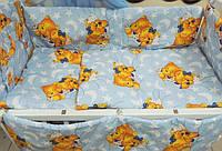 """Защита, мягкие бортики в детскую кроватку """"Мишки пара спят"""" голубая"""