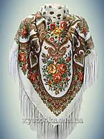 Шерстяной платок Весенний сад, молочный