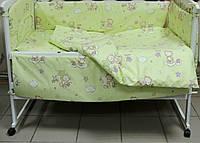 """Защита, мягкие бортики в детскую кроватку """"Мишка с пчелкой на облачке"""" салатовая"""