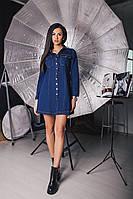 Джинсовое женское платье рубашка свободного фасона на кнопках с накладными карманами