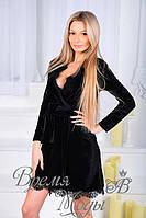 Бархатное платье халат. Чёрный, 3 цвета.