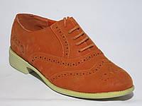Женские рыжие красные туфли оксфорды на шнуровке на белой подошве