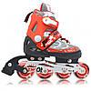 Роликовые коньки 5981 красные со светящимися колесами S