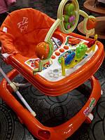Ходунки детские с игровой панелью и музыкой, оранжевые