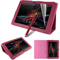 Ярко-розовый чехол на Sony Xperia Tablet Z из синтетической кожи.