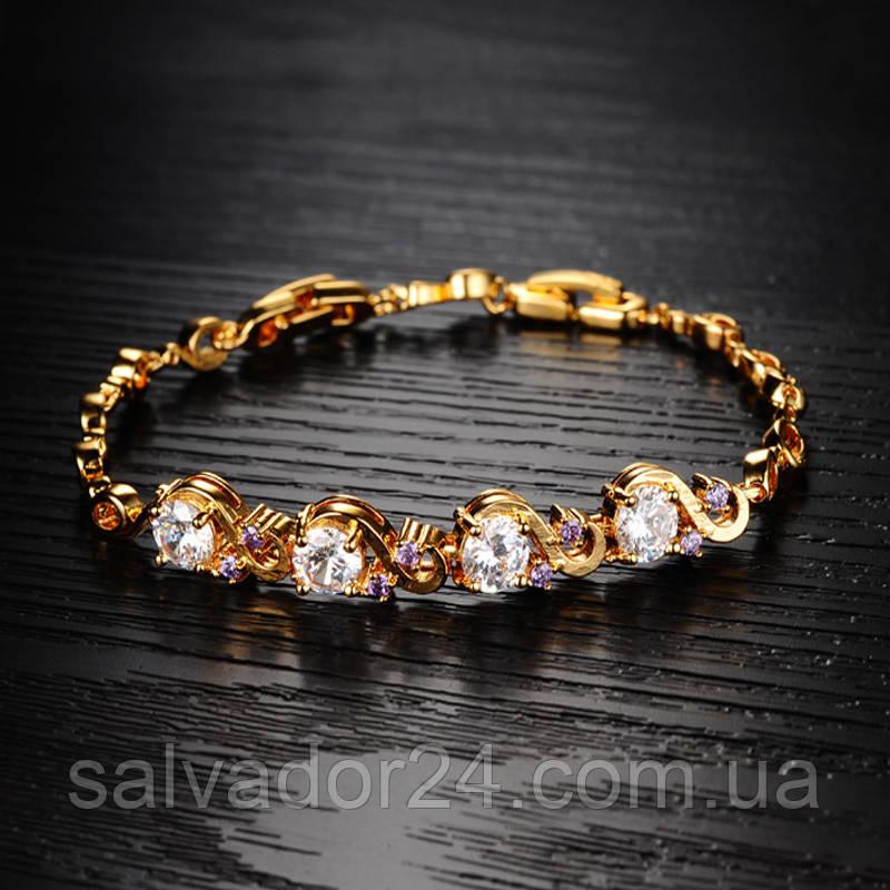 Женский браслет Gold filled 18k позолота, фианиты