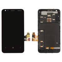 Дисплей для мобильного телефона Nokia 620 Lumia, черный, с сенсорным экраном, с рамкой