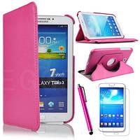 Ярко-розовый чехол для Galaxy Tab 3 8.0  на поворотном кольце