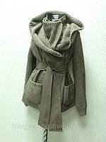 Кожаная женская куртка Punto с поясом и вязкой