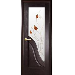 Маэстра межкомнатные двери  Амата стекло с рисунком (Венге)