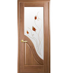 Маэстра межкомнатные двери  Амата стекло с рисунком (Золотая ольха)