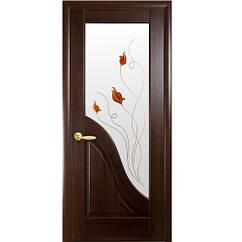 Маэстра межкомнатные двери  Амата стекло с рисунком (Каштан)