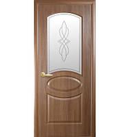 Межкомнатные двери Новый стиль Фортис De Luxe R стекло (Золотая ольха)