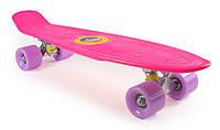 """Детский ПениБорд Розовый 22"""" Лиловые Колеса / пенниборд скейт (penny board), скейтборд"""