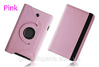 Вращающийся светло-розовый чехол для ASUS FonePad ME372CG(ME373) из синтетической кожи.