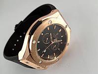 Мужские часы HUBLOT - Big Bang каучуковый черный ремешок, цвет золото, кварцевый механизм