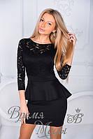 Платье баска. Чёрное, 4 цвета. Р-р: S, M, L, XL, XXL.