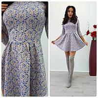 Платье теплое приталенное с расклешенной юбкой мини трикотаж жаккард SMdi1088