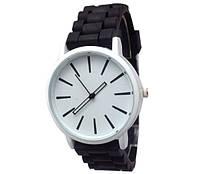 Женские часы GENEVA Женева с белым циферблатом, силиконовый браслет (черный), часы женские на ремешке