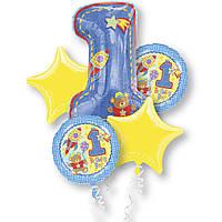 """Набор фольгированных шаров """" Первый День рождения! (для мальчика)"""""""