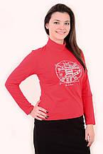 """Красная футболка с длинным рукавом  принт """"Кот Давинчи"""" 44-52плотный трикотаж"""