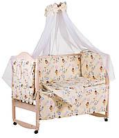 Комплект кроватка, матрасик, постельное из 9 предметов