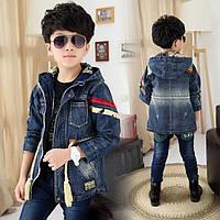 Пиджак детский джинсовый удлинённый
