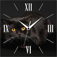 """Настенные часы 300Х300Х16мм """"Кот в ночи"""" [МДФ]"""