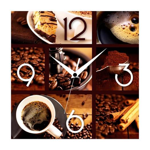 """Настенные часы в кухню 300Х300Х16мм """"Кофе"""" [МДФ, Открытые]"""
