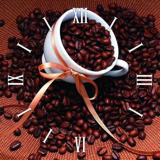 "Настенные часы в кухню 300Х300Х16мм ""Кофейные зерна"" [МДФ, Открытые]"