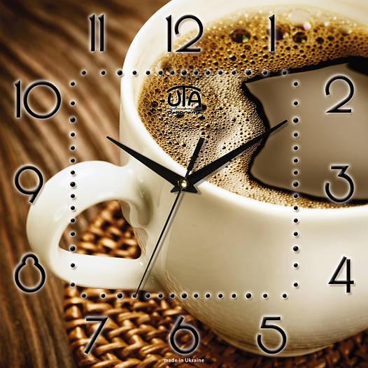 "Настенные часы в кухню 300Х300Х16мм ""Чашка кофе"" [МДФ, Открытые]"