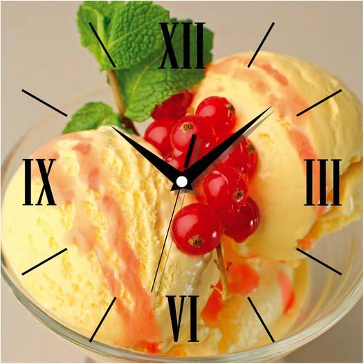 "Настенные часы в кухню 300Х300Х16мм ""Мороженное"" [МДФ, Открытые]"