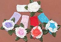 Ажурная детская повязка с латексной розой