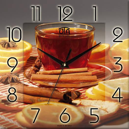 """Настенные часы в кухню 300Х300Х16мм """"Время для чася"""" [МДФ, Открытые]"""