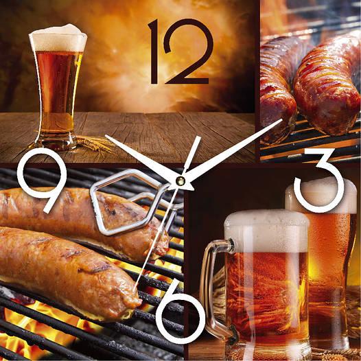 """Настенные часы в кухню 300Х300Х16мм """"Кружка пива"""" [МДФ, Открытые]"""