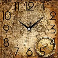 """Необычные настенные часы 300Х300Х16мм """"Старая карта мира"""" [МДФ, Открытые] UTA-OF-005 бежевые"""