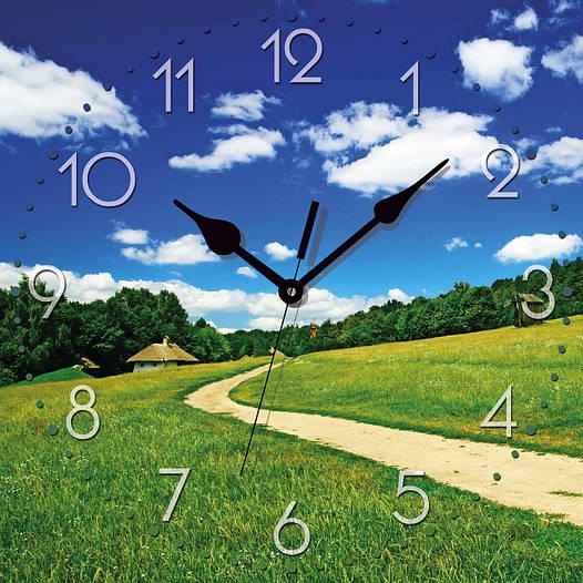 """Настенные часы 300Х300Х16мм """"Дорога в поле"""" [МДФ, Открытые]"""