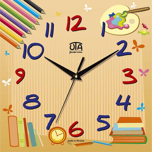 """Настенные часы в детскую комнату 300Х300Х16мм """"Карандаши"""" [МДФ, Открытые]"""