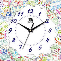 Настенные часы в детскую комнату 300Х300Х16мм [МДФ, Открытые] UTA-CH-011 белые
