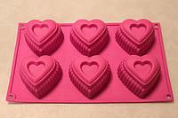 """Силиконовая форма """"Сердца из 6 ти прямоугольные"""""""