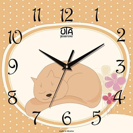 """Настенные часы в детскую 300Х300Х16мм """"Спящий кот"""" [МДФ, Открытые]"""