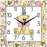 "Настенные часы в детскую 300Х300Х16мм ""Мишутка"" [МДФ, Открытые]"